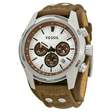 Fossil CH2565 Men's Chronograph Silver Dial Brown Leather Cuff