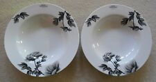 Royal Worcester 'Black Peony' Rim Soup Bowl x 2