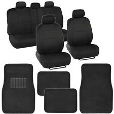 Black & Black Seat Covers Set Split Bench Solid Black Vinyl Trim Floor Mats