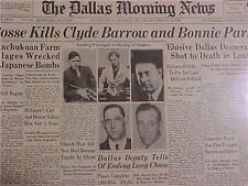 VINTAGE NEWSPAPER HEADLINE ~CRIME BONNIE PARKER & CLYDE BARROW GUN SHOT KILLED~