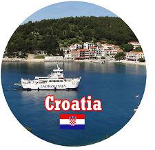 CROATIA / FLAG / SIGHTS - ROUND SOUVENIR FRIDGE MAGNET - BRAND NEW - GIFT