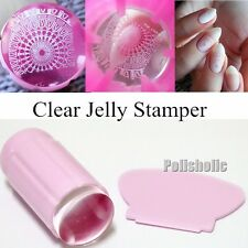 2Pcs/Set Clear Jelly See Through Nail Stamper & Scraper Silicone Head Stamper