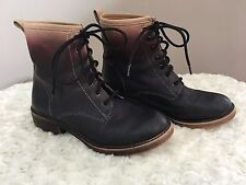 Lucky Brand Women Sz 6 Ombre Combat Boots Black/Maroon/Tan 7 Eye Punk