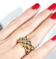 PERFECT!TURKISH HANDMADE SAPPHIRE STERLING SILVER 925K AND BRONZ RING SIZE 8