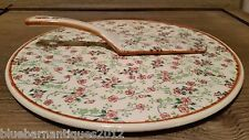 Antique Floral Chintz Ceramic Cake Plate with matching server