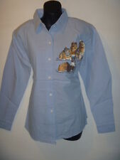 Top XLarge Blue Cat Lovers Kittens Embroidery Blouse Button Down Shirt 822 NWT