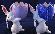 Set of Art Pottery Ceramic Easter Bunny Rabbit Jelly Bean Dish Figurine Statue S