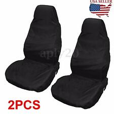 2) Black Universal Waterproof Nylon Front Car Van Seat Covers Protectors US