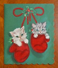 1956 Vtg Christmas Card RED FLOCKED MITTENS with KITTENS KITTY CATS Mid-Century