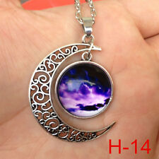 New arrival ! Colorful Galaxy Glass Hollow Moon Shape Pendant Tone Necklace ^j45