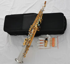 Top Silver Nickel Gold Straight Soprano Saxophone sax High F# ABALONE Key 2-Neck