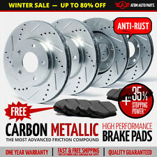 (Front+Rear) SILVER Slotted Drilled Rotors & Metallic Pads Chevy GMC Oldsmobile