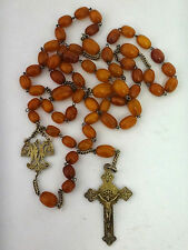 RARE ANTIQUE HUGE STERLING SILVER ROSARY BALTIC AMBER BUTTERSCOTCH BEADS