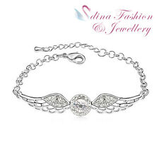 18K White Gold Plated Made With Swarovski Crystal Lovely Angel Wings Bracelet