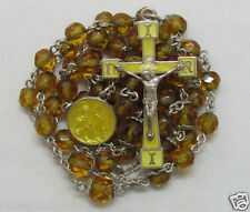 † GORGEOUS ANTIQUE STERLING YELLOW ENAMELED ELEMENTS & CITRINE BEAD ROSARY W@W†