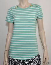 Nwt $69 Michael Kors Stretch Cotton Zip Shoulders Short Sleeve Top Tee Aqua S