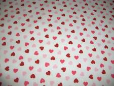 Valentines Red Pink Hearts Pink Glitter White Cotton Quilt Fabric BTY