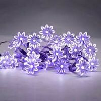 SET OF 20 BATTERY OPERATED LED PURPLE FLOWER FAIRY STRING LIGHTS