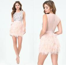BEBE PINK RHINESTONE BEADED FEATHER DRESS NEW NWT $229 MEDIUM M LARGE L 10