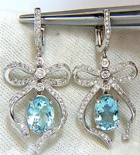 $6000 5.95ct natural aquamarine diamonds dangle earrings 14kt ribbon bowtie deco