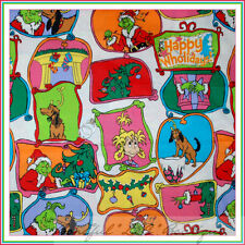 BonEful Fabric FQ Cotton Quilt VTG GRINCH White Red Green Xmas Dr Seuss S Calico
