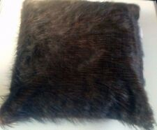 "EXTRA LARGE BROWN FAUX MONGOLIAN FUR SOFT & FLUFFY CUSHION COVERS 22"" X 22"""