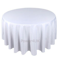 Round White Table Cloth Seamless High Quality Polyester Tablecloth 120 Inch