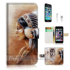 iPhone 6 6S (4.7') Flip Wallet Case Cover! P1822 Indian Wolf