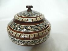 """Egyptian Mother of Pearl Inlaid Round Candy Wood Handmade Box 4.5"""": Gift # 213"""