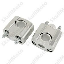 "1 1/8"" 7/8"" Motorcycle CNC Universal Fat Bar Clamp Riser Taper Handlebar Silver"