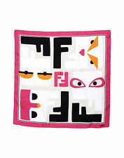 "FENDI Monster Buggie Square Scarf 100% Silk Size 34"" X 34 """