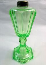Antique EAPG Green Vaseline Glass Kerosene Oil Lamp Base ONLY