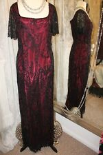Draculas wife black red beaded party dress - Ditsy Vintage Vamp - Size 16 gothic