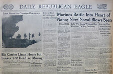 5-1945 WWII May 18 MARINES BATTLE INTO HEART OF NAHA NAVAL BLOWS SEEN. MARIANAS