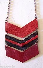 New Handmade Leather Chevron Pendant Necklace Long Metal Chain Statement