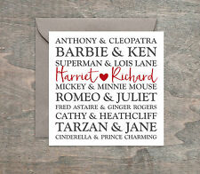 Personalised Handmade Wedding Day Card Engagement Anniversary Typography.