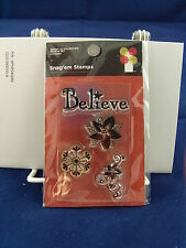 NEW IMAGINISCE CLEAR STAMP SET BELIEVE POINSETTIA SNOWFLAKE 000804