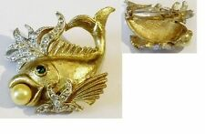 broche bijou vintage poisson couleur or relief cristal perle nacré * 5039