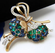 Vintage 1950 Crown Trifari Jeweled Symphony Rhinestone Brooch Pendant Pat 160966