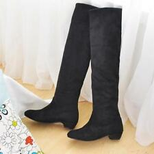 Fashion Lady Women's Faux Suede Boots Leisure Low Heel Knee High Shoes UK All Sz