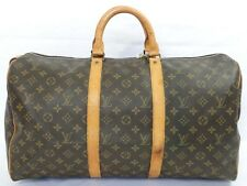 Auth LOUIS VUITTON Momogram Canvas Luggage Keepall 50 Boston Handbag Travel bag