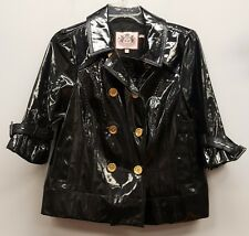 JUICY COUTURE Size L Black Shiny Gold Button 3/4 Sleeve Swing Jacket Raincoat