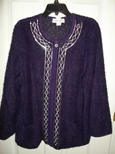 CATHY DANIELS PURPLE SILVER SEQUIN EMBROIDERED BOUCLE CARDIGAN SWEATER 1X