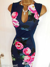 Blue Pink Floral Galaxy Bodycon Wiggle Cocktail Evening Dress Size 10  BNWT