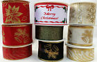 NEW SELECTION WIDE WIRED EDGED CHRISTMAS RIBBON - 1 or 3 METRES - FREE P&P
