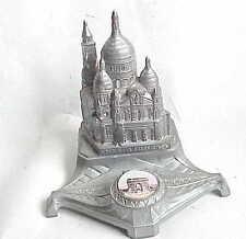 Antique Paris France Dip Pen Inkwell Le Sacre Coeur & Arc De Triomphe