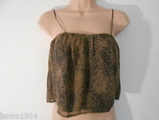 Oh My Love Beige Black Thin Strap Party  Crop Top Blouse (NEW)-Size Small/Medium