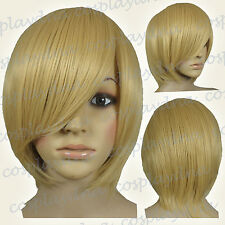 16 inch Hi_Temp Beige Blonde Long Layer Bob Cut Short Cosplay DNA Wigs 65086