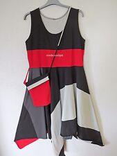 BORIS INDUSTRIES  Zipfel Kleid + Tasche breiter Patch schwarz-rot 48-50 (5)