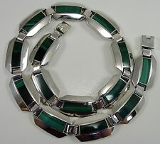 """Sterling Silver Malachite Band Necklace Flat Hexagon Link Taxco Mexico 17"""""""